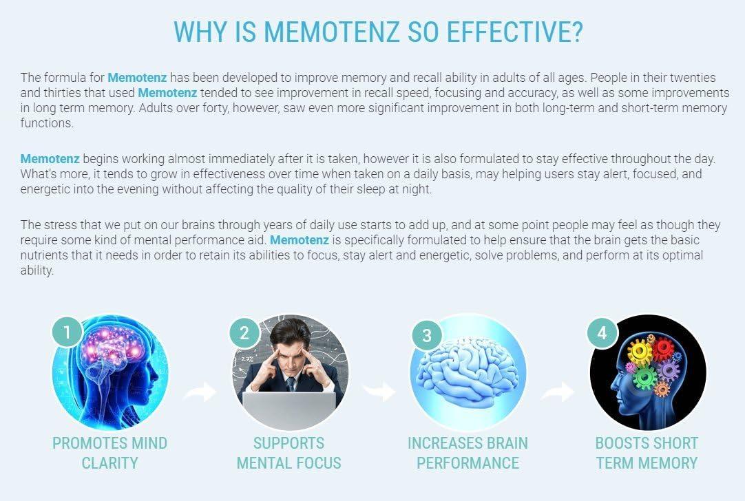 Memotenz Brain Function Supplement – 3pck – Brain Booster for Memory, Clarity and Focus – Mental Focus Nootropic