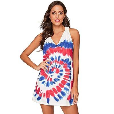 Romwe Women's Sleeveless V Neck Tie Dye Tunic Tops Casual Swing Tee Shirt Dress at Women's Clothing store