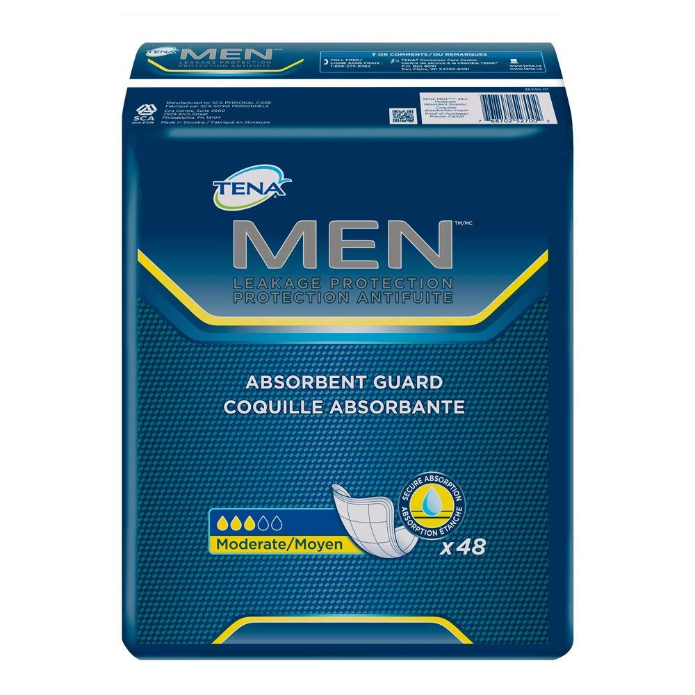 TENA Incontinence Guards for Men, Moderate Absorbency, 48 Count (4 Pack)