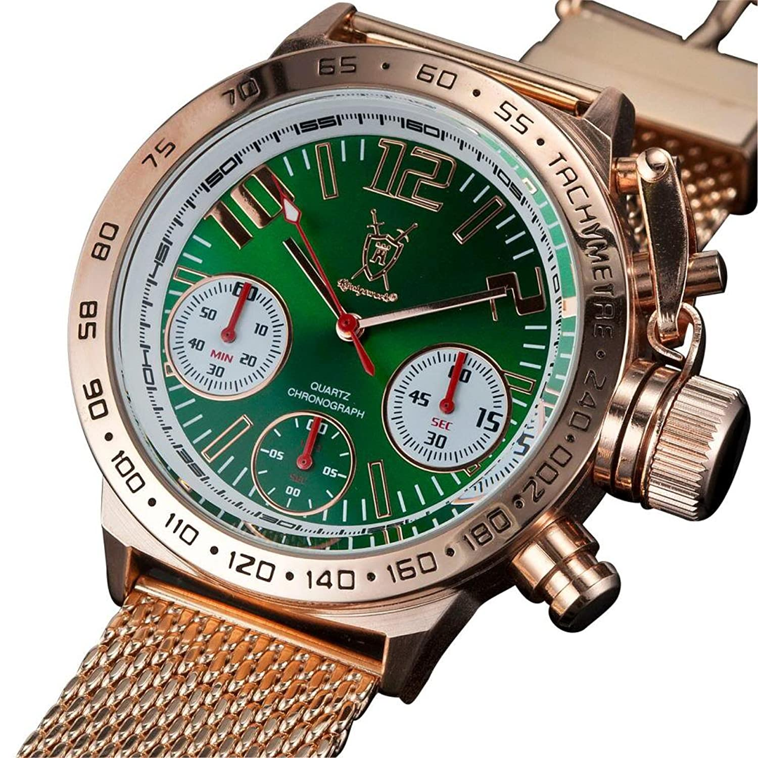 dial gold watches com amazon bracelet watch konigswerk dp s chronograph men rose mens green