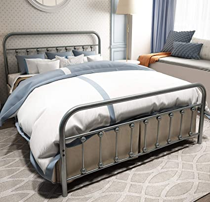 separation shoes 2e681 3f6e4 TEMMER Metal Bed Frame Queen Size with Headboard and Footboard Single  Platform Mattress Base,Metal Tube and Iron-Art Double Bed Gray Silver.