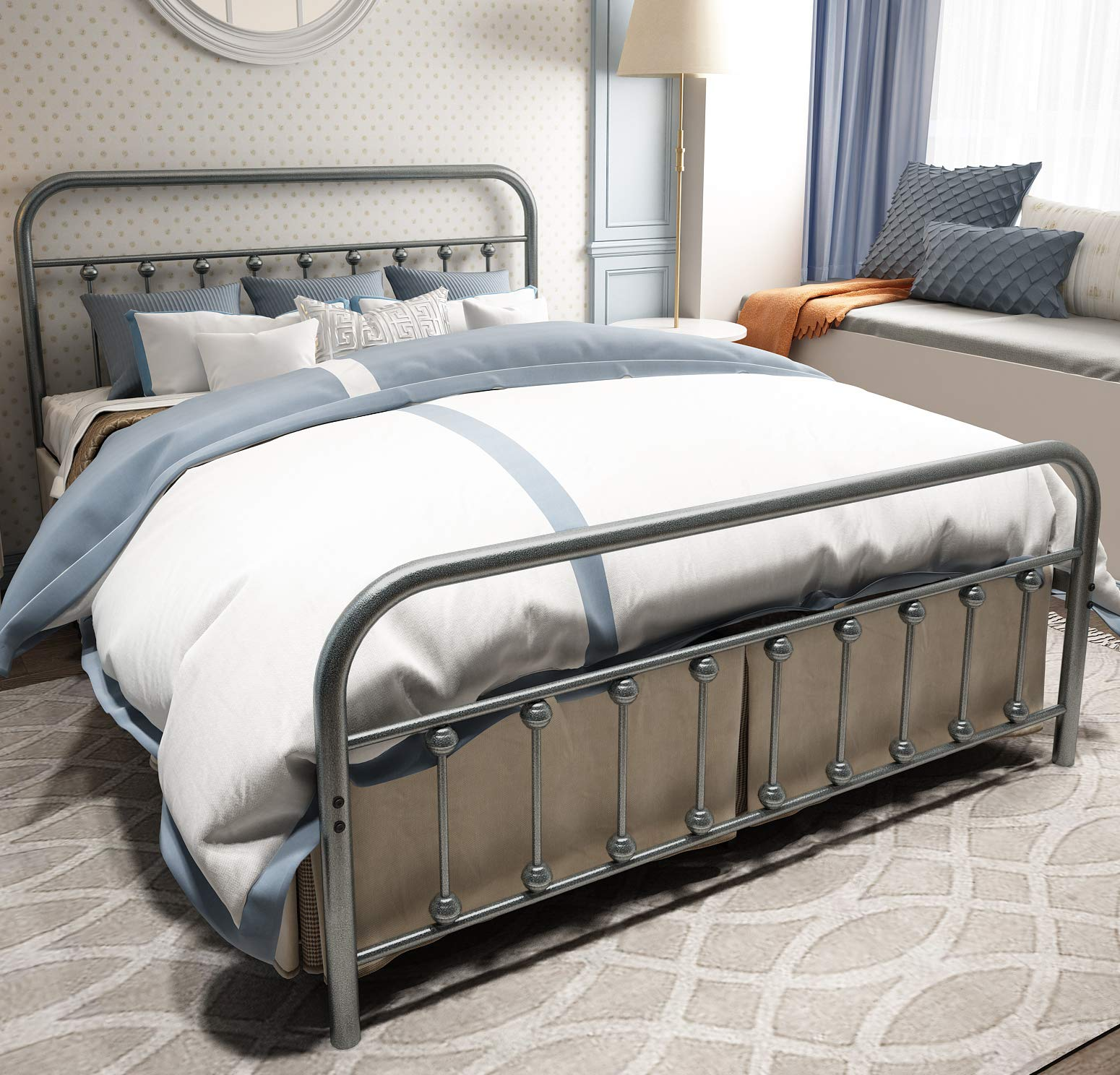 TEMMER Metal Bed Frame Queen Size with Headboard and Footboard Single Platform Mattress Base,Metal Tube and Iron-Art Double Bed Gray Silver.