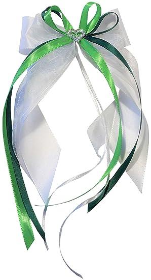 10 x Antennenschleifen Autoschleifen Autoschmuck Dekoschleife weiß-hell grün