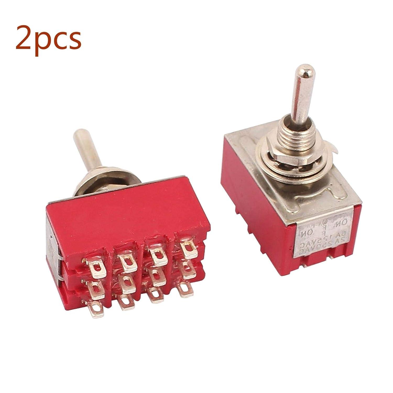 PRINDIY Interruttori a levetta autobloccanti da 2 Pezzi Interruttore a levetta ON//ON a 12 Pin 4PDT AC 250 V 2 A 120 V 5 A