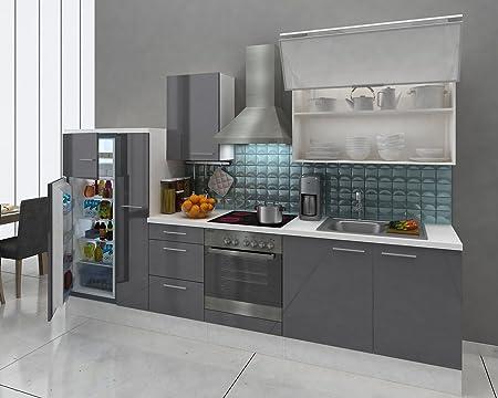 respekta Premium Instalación de cocina Cocina 310 cm blanco gris nevera congelador combinado 144 cm & vitrocerámica: Amazon.es: Hogar