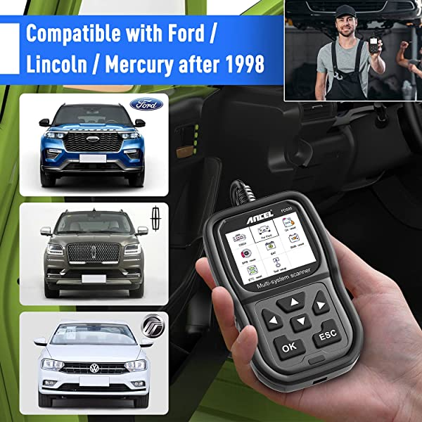 Ancel FD500 is compatible with Ford, Lincoln and Mercury after 1998