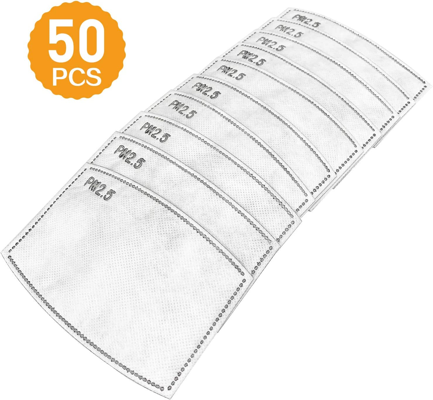 【New Arrival】50Pcs PM2.5 Activated Carbon Filter, placed in a protective cover mask (5 Layers)