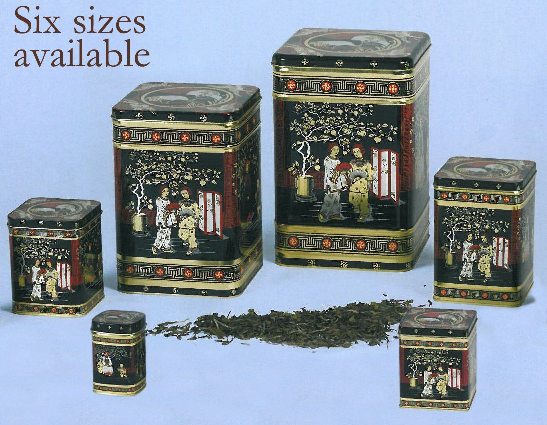 Black Jap Classic Tea Caddy Tin - 3LB - Height 21cm