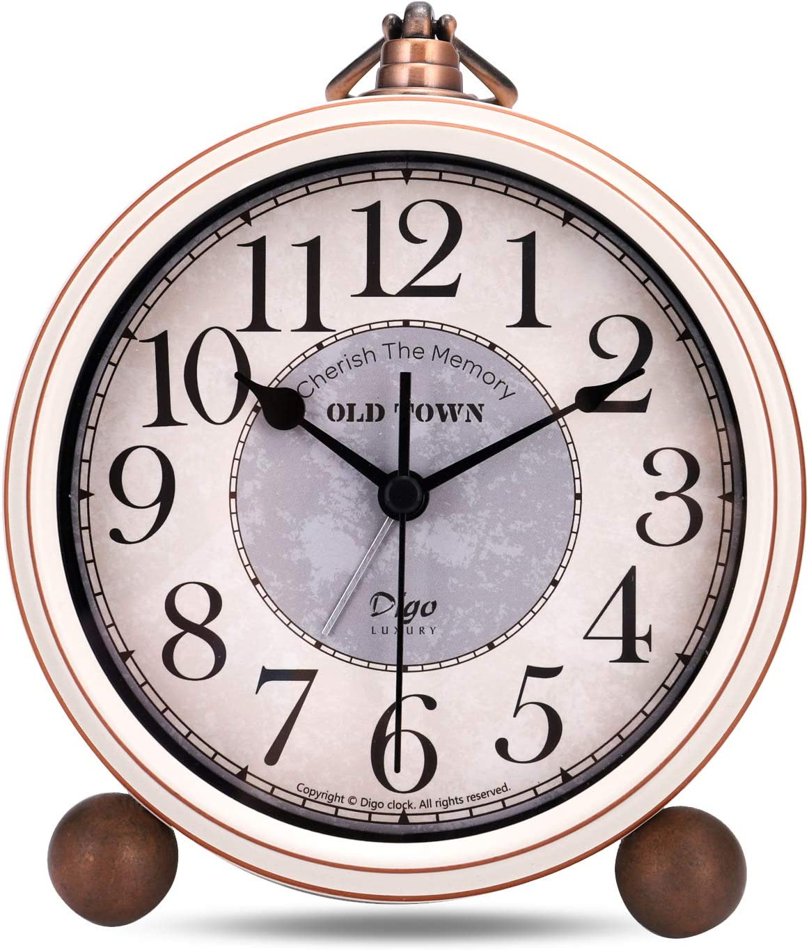 Lafocuse 13.3cm Despertador Analógico Metal Grandes Vintage de Noche Reloj de Mesa Silencioso Beige para Infantil Dormilones
