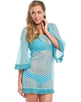 Mud Pie Women's Fashion Marilee Fringed Cover-Up Pacific Blue 8503023BL