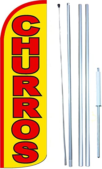 HAIRCUTS Banner Flag and Pole Windless Feather 2.5 wide Swooper YEL RED
