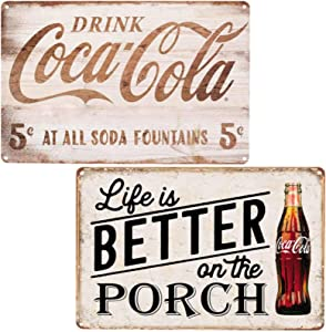 FSTIKO Life is Better On The Porch Drink Coca Cola Vintage Coke Tin Signs for Men Cave Home Wall Plaque Poster Cafe Bar Pub 8X12Inch 2Pcs