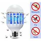 Mosquito Killer Light Bulb 2 in 1 Electronic Insect Bug Zapper Fly Killer E26 LED Lamp Pest Control Trap Light for Indoor Porch Patio Backyard Garden