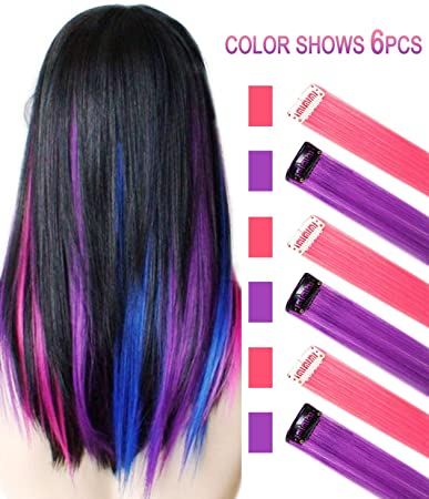 56a400fd9d9a7 Amazon.com  Purple Pink Hair Extensions Colored Party Highlights Straight  Hair Extension Clip In On For Amercian girls and Dolls Kids Costume Wig  Pieces 6 ...