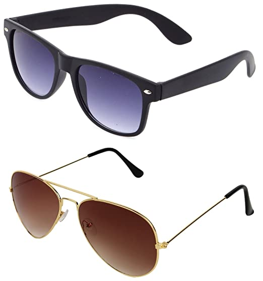 f8efb1f5f0a SHEOMY COMBO OF STYLISH GOLDEN BROWN AVIATOR AND BLACK BLUE WAYFARER  SUNGLASSES WITH 2 BOX Best Online Gifts  Amazon.in  Clothing   Accessories