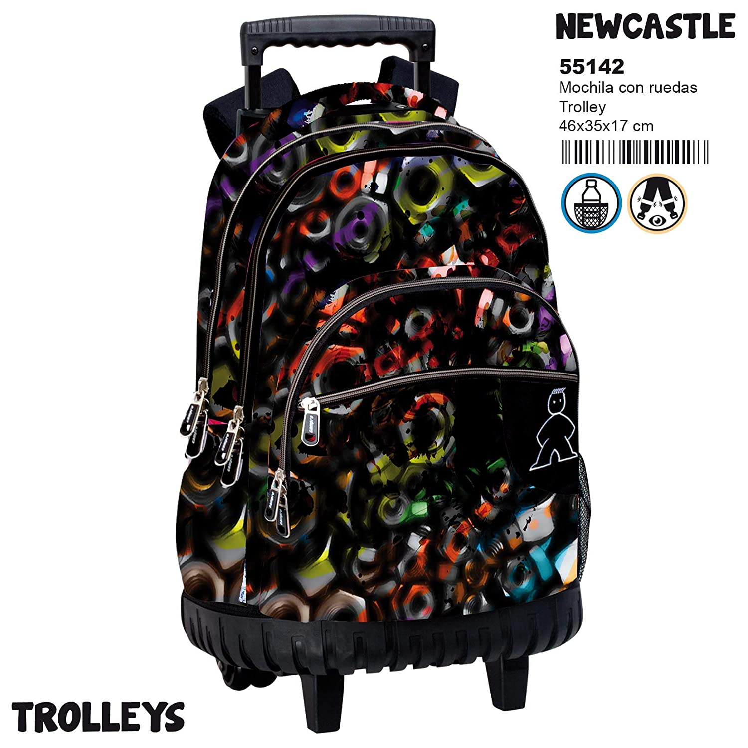 Amazon.com | Montichelvo Trolley Cmp Newcastle Travel Tote, 46 cm, Multicolour | Travel Totes