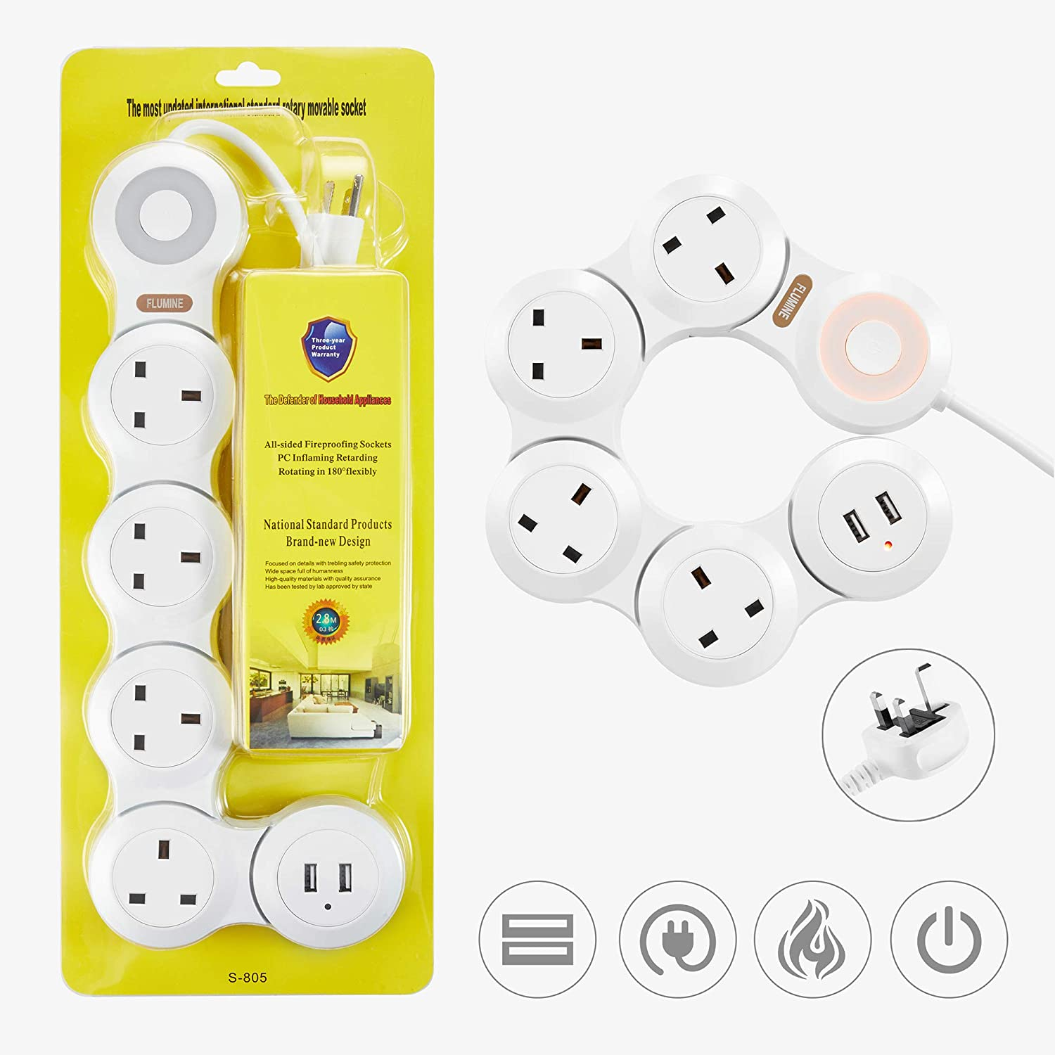 1.8m - Black Flexible Surge Protector Plug 4 Way Outlets with 2 USB Port for Home Power Strip Office and Travel