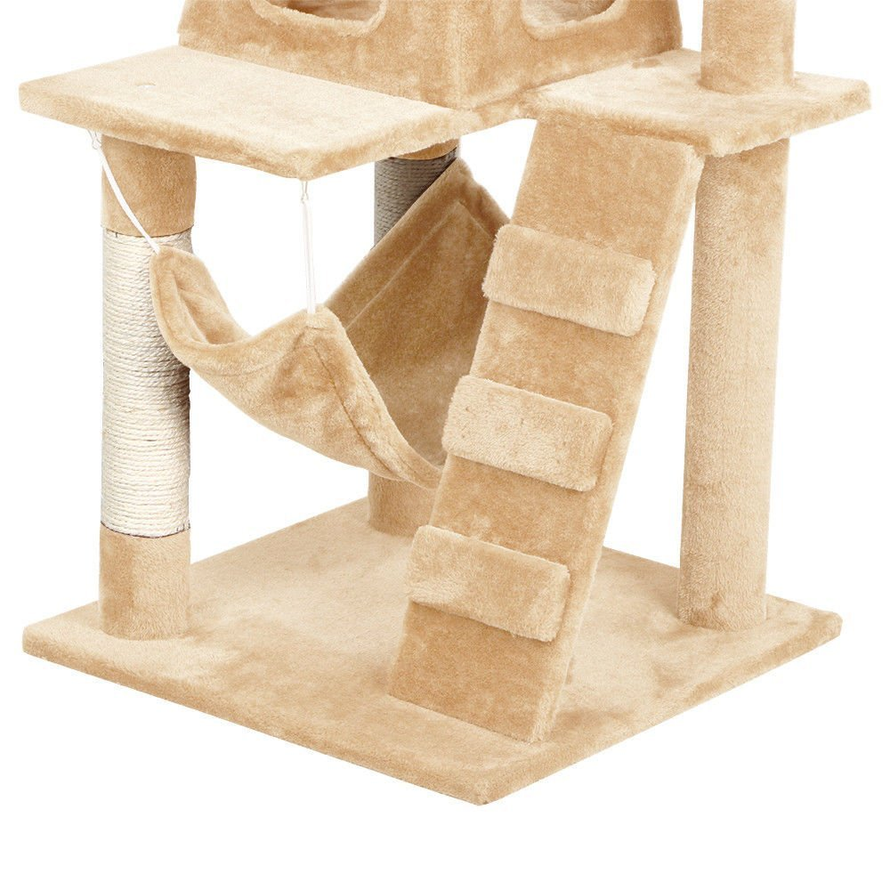 52'' Cat Tree Kitten Scratching Post Tower Condo House Tunnel Playground (Beige)