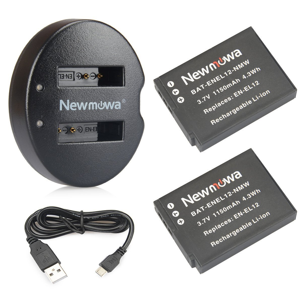 EN-EL12 Newmowa Replacement Battery (2-Pack) and Dual USB Charger for Nikon EN-EL12 and Nikon Coolpix AW100 AW100s AW110 AW110s AW120 P330 P340 S310 S70 S610 S620 S630 S640 S800c S1100pj S1200pj by Newmowa