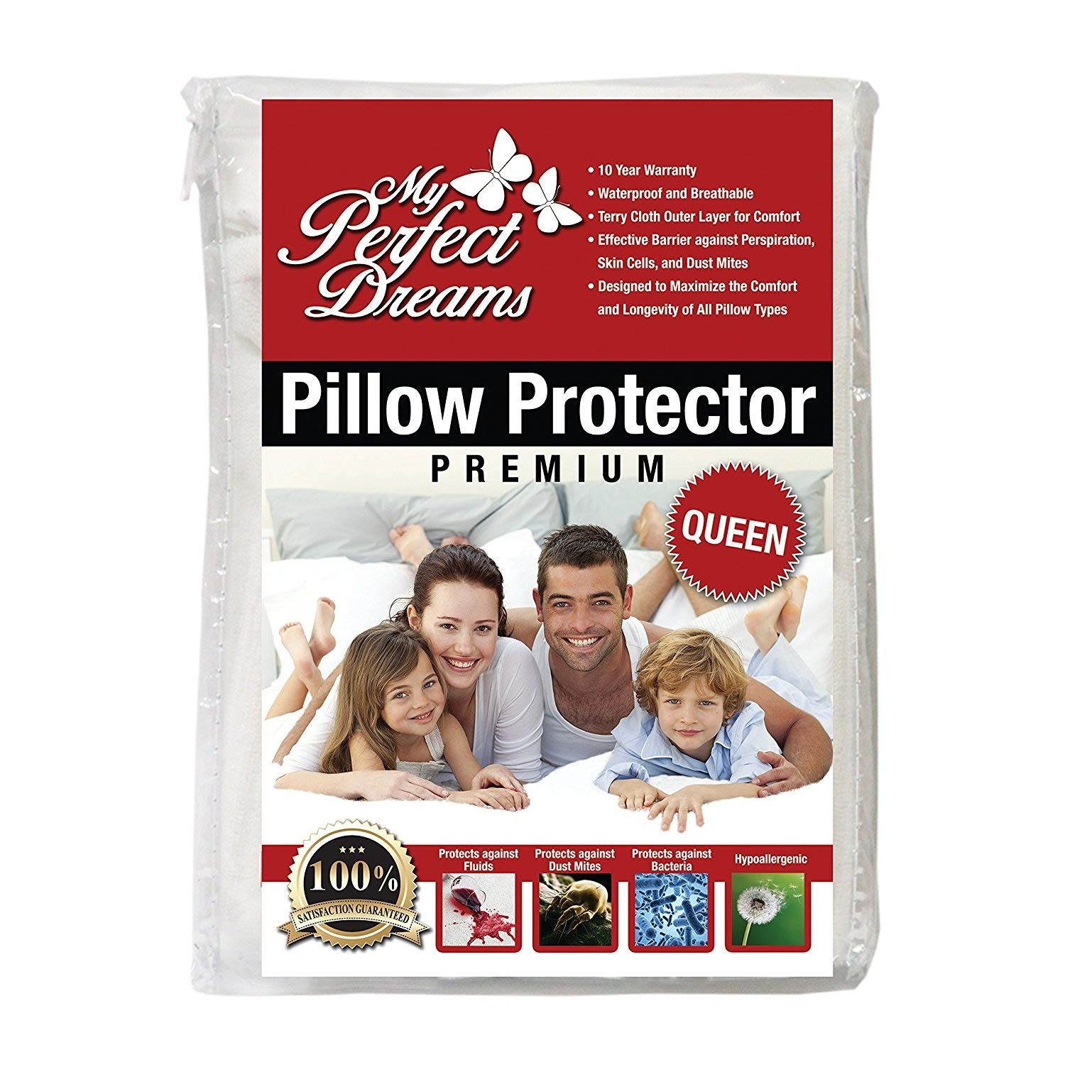 My Perfect Dreams Premium Quality Pillow Protector Wake UP Without A STUFFY Nose Due to Allergies 100/% Waterproof Breathable Zippered Hypoallergenic Dust Mite and Bed Bug Protection Queen