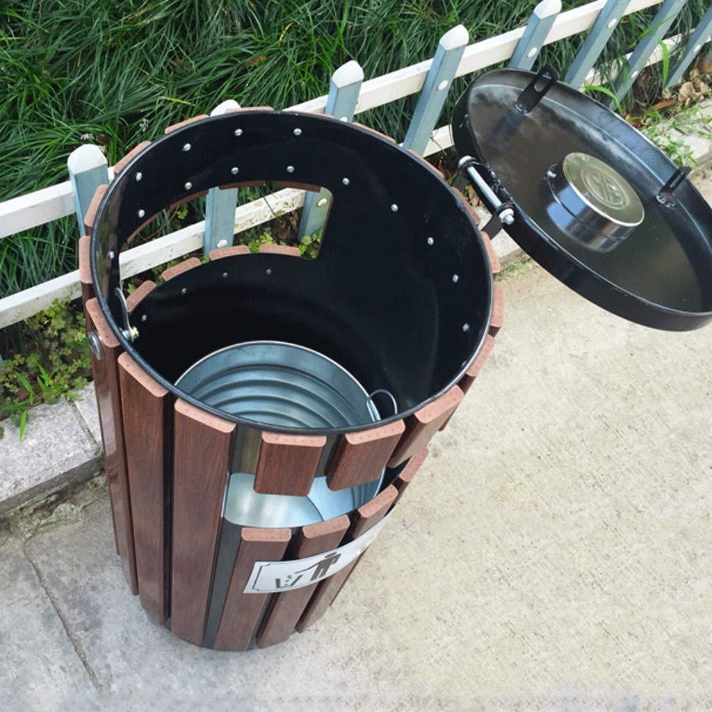 JXJJD Outdoor Steel Wood Trash Can Solid Wood Large Sanitation Outdoor Trash Can Park Round Barrel Storage Tube