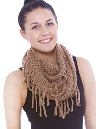 Warm Infinity Scarf In Knit Pattern W Tassels Crochet Circle Scarf