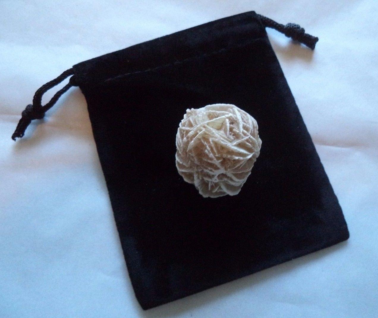 Desert Rose Selenite Flower: Protection Set - Stone plus Velvet Bag (Rock Bud)