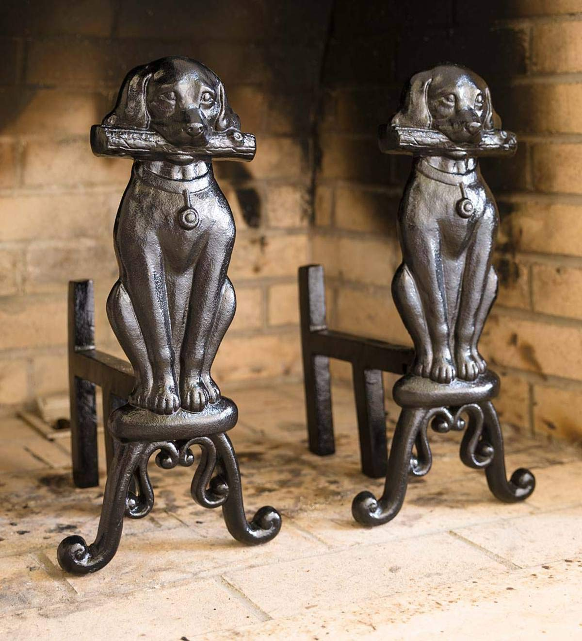 Plow & Hearth Cast Iron Fireplace Dog Andirons, Set of 2 - Dog 8''W x 2.5''D x 17''H; Back Shank 10''L with 8.5''H Back Support and 5''H Clearance Beneath; 12 lbs. Each