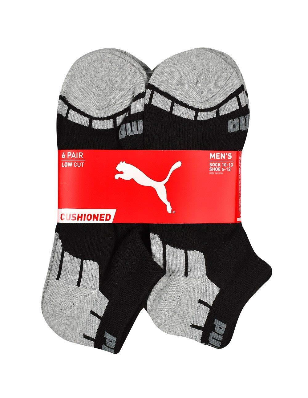 PUMA Men's P112479 Low-Cut 6-Pack Socks, Black/Silver Sock 10-13 Shoe Size 6-12 by PUMA