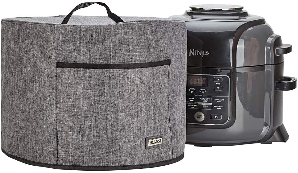HOMEST Pressure Cooker Dust Cover with Pocket, Compatible with Ninjia Foodi 6.5 Quart Pressure Cooker, These Cover Have Wipe Clean Liner for Easy Cleaning, Grey (Patent Design)