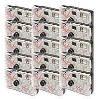 TopShot - Confezione 15 fotocamere usa e getta per nozze Love con flash, 27 foto, colore: Bianco