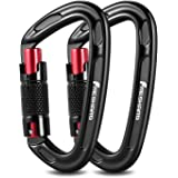 FresKaro UIAA Certified 25KN Auto Locking Climbing Carabiner Clips,Twist Lock and Heavy Duty Carabiners for Rock…