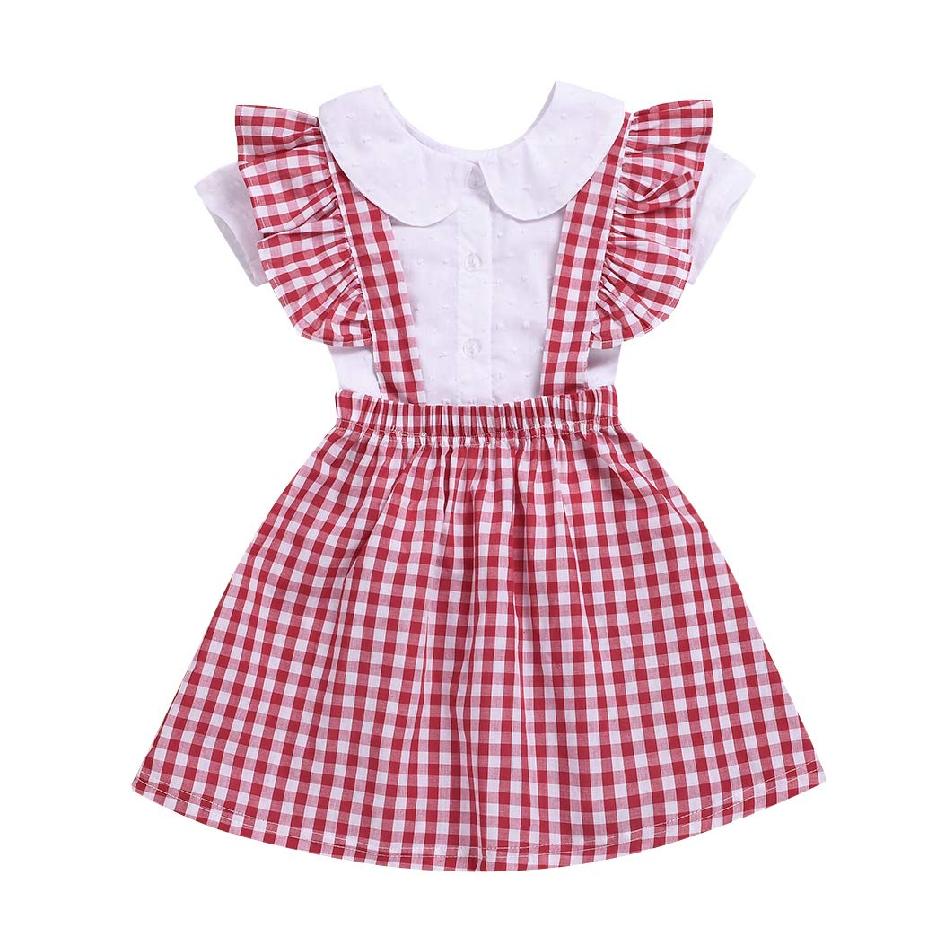 8bd8c4260a Amazon.com: Toddler Baby Girls Ruffle Collar Cloud Sewed Shirt Tops + Red  Plaid Skirt 2PCS Summer Outfits.: Clothing