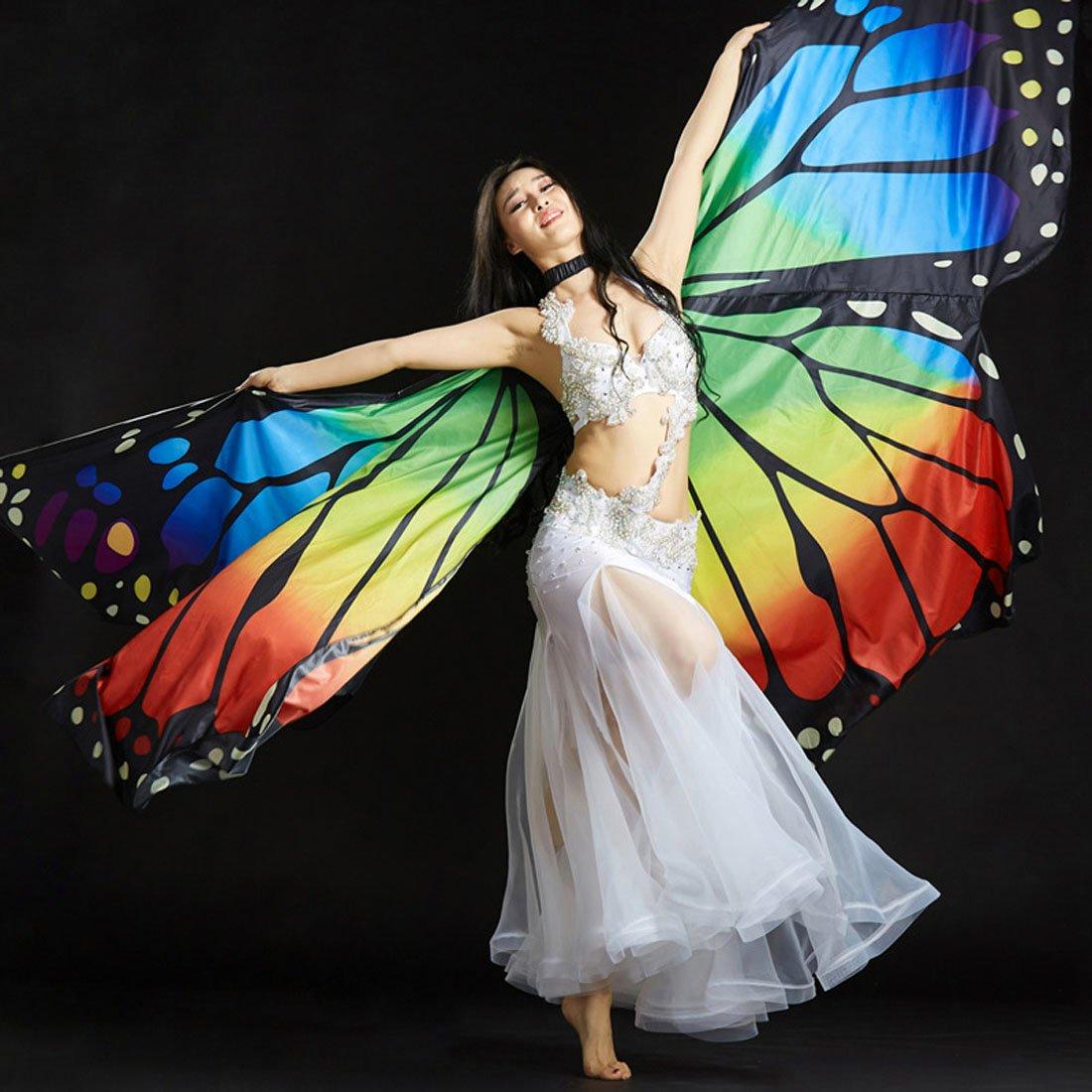 Calcifer NEUF /égyptien /égyptienne Belly Dance Papillon Monarque Ange Ailes dIsis avec 2/b/âtons t/élescopiques