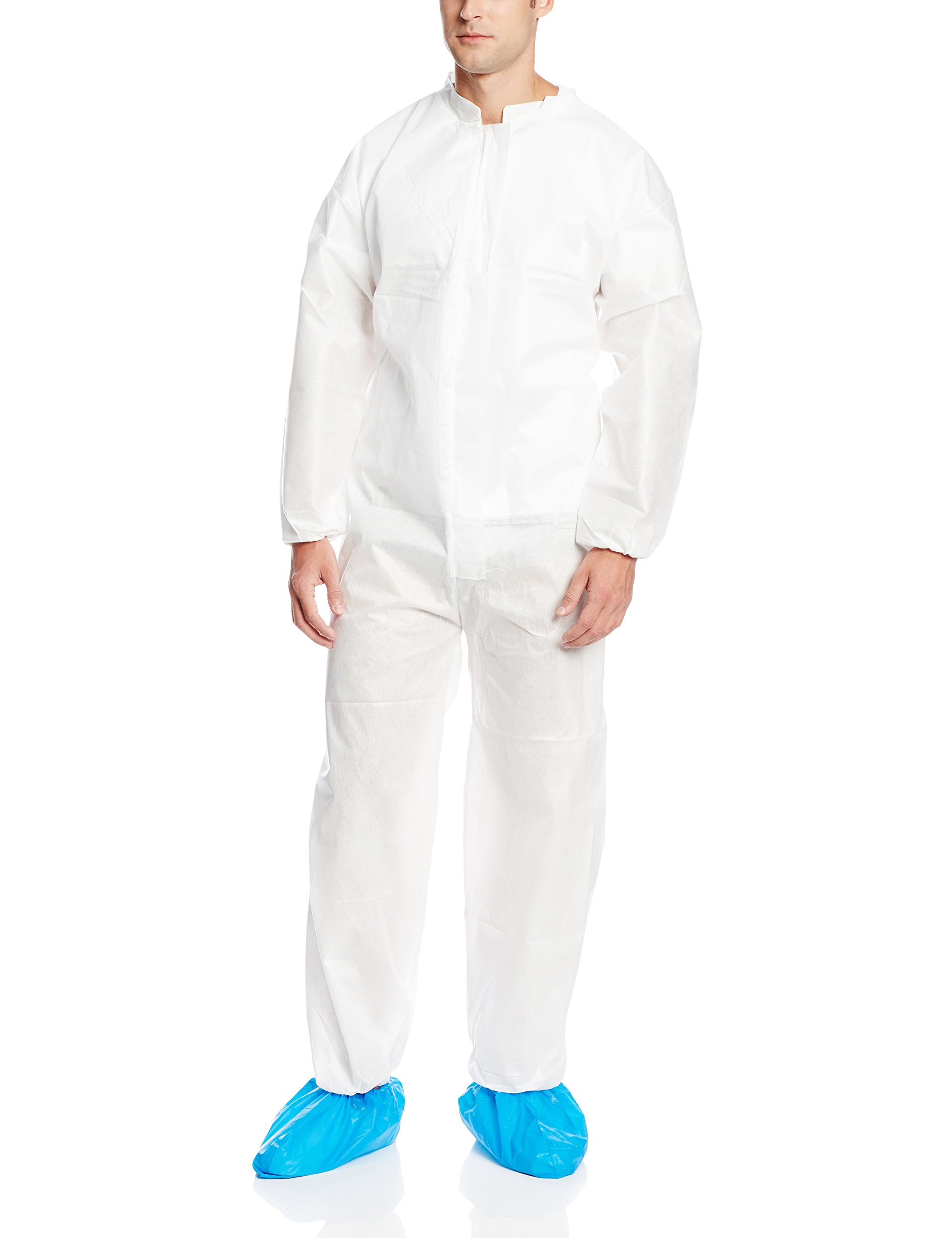 ValuMax 4802WHXL Ultra SMS Disposable Coverall, Fluid Resistant, Breathable, Elastic Cuffs and Ankles, White, XL, Case of 25 by Valumax (Image #1)