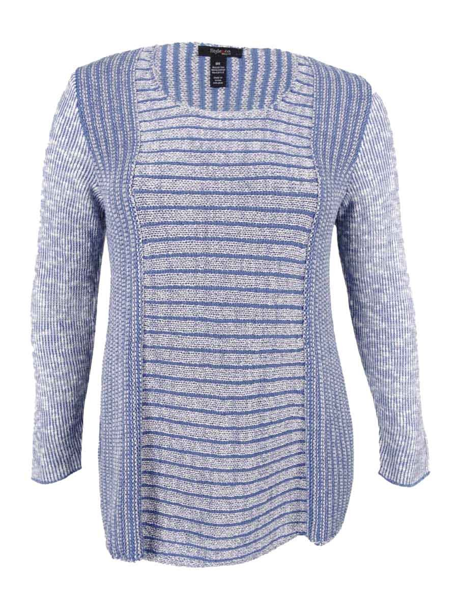 Style & Co. Womens Plus Marled Textured Pullover Sweater Blue 3X