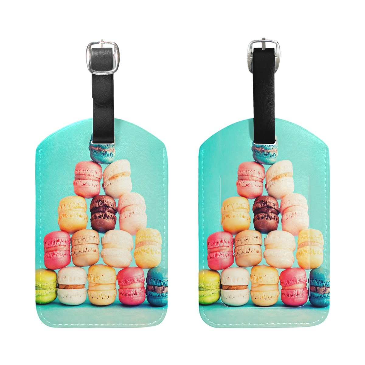 Saobao Travel Luggage Tag Sweets Colored Background Macaron PU Leather Baggage Suitcase Travel ID Bag Tag 1Pcs