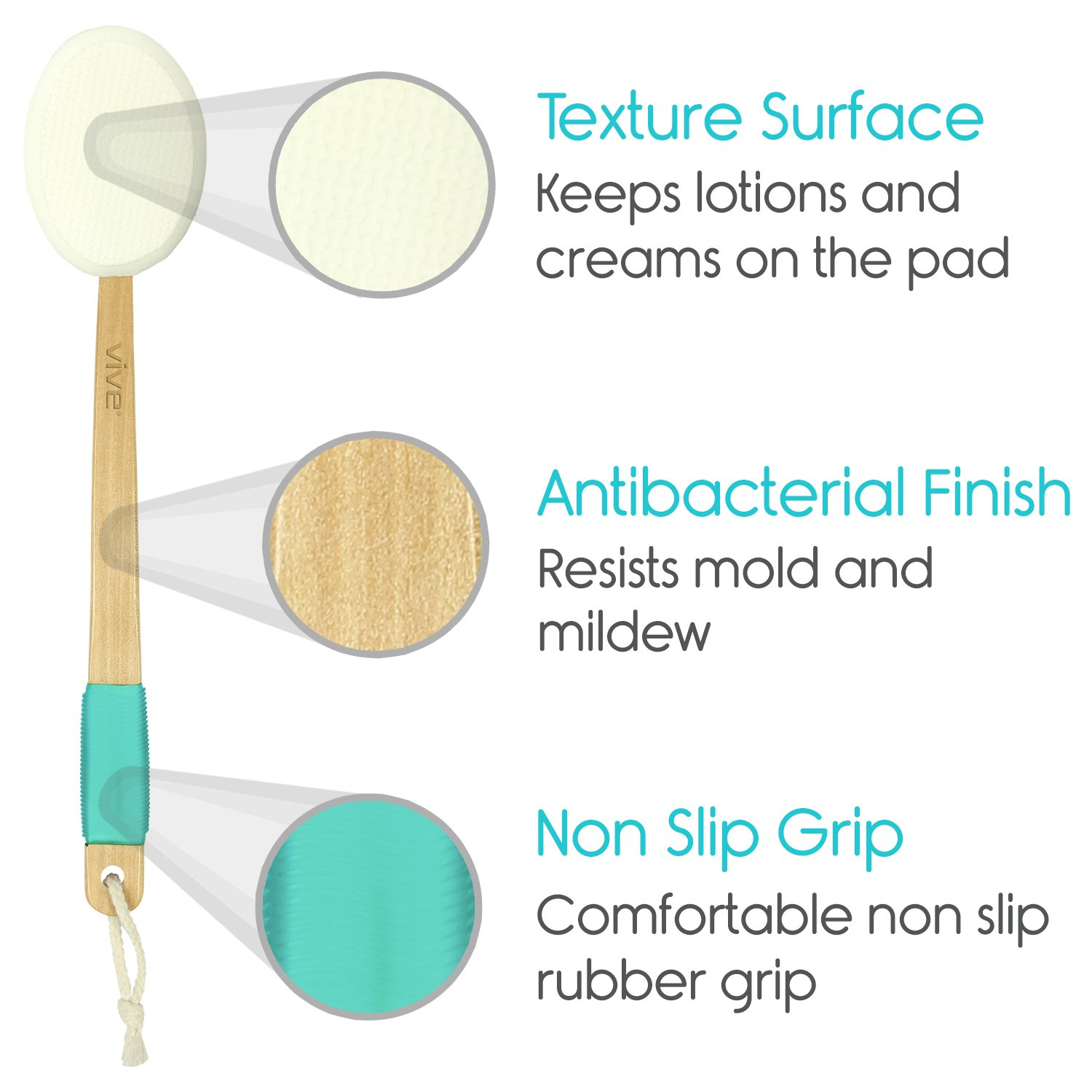 Back Lotion Applicator by Vive - Long Reach Handle With Pad for Easy Self Application of Shower Bath Body Wash Brush, Foot Sponge, Skin Cream, Suntan, Tanning, Aloe - Men, Women (3 Replacement Pads) by VIVE (Image #3)