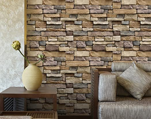 Retro Brick 3D Self-Adhesive Thin Wallpaper, 100x45cm, 39.3x17.7in,