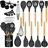 Umite Chef Kitchen Cooking Utensils Set, 24 pcs Non-stick Silicone Cooking Kitchen Utensils Spatula Set with Holder…