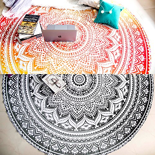 Set of 2 Ombre Mandala Round Tapestry Hippie Indian Mandala Roundie Picnic Table Cover Hippy Spread Boho Gypsy Cotton Tablecloth Beach Towel Meditation Round Yoga Mat - 72 Inches, Black ()