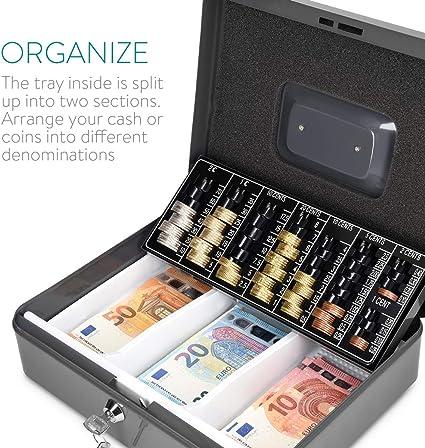 Navaris Caja fuerte para dinero - Organizador de efectivo con cerradura y compartimento interior - Para billetes monedas documentos con dos llaves: Amazon.es: Bricolaje y herramientas