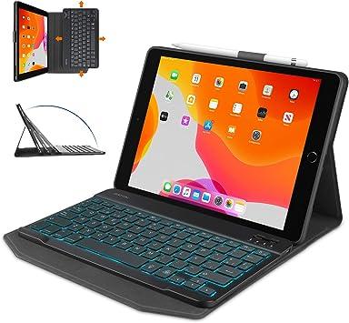 OMOTON Funda con Teclado iPad 8 2020 10.2, iPad 7 10.2 2019, iPad Air 3 10.5, iPad Pro 10.5, Teclado Retroiluminado Desmontable, Funda Durable con ...