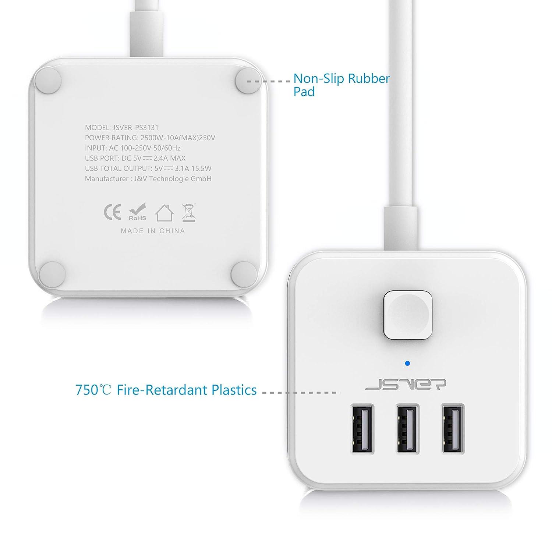 White Status S3W1.4M3XUSB1PK6 3 Way Cube with 3 x USB
