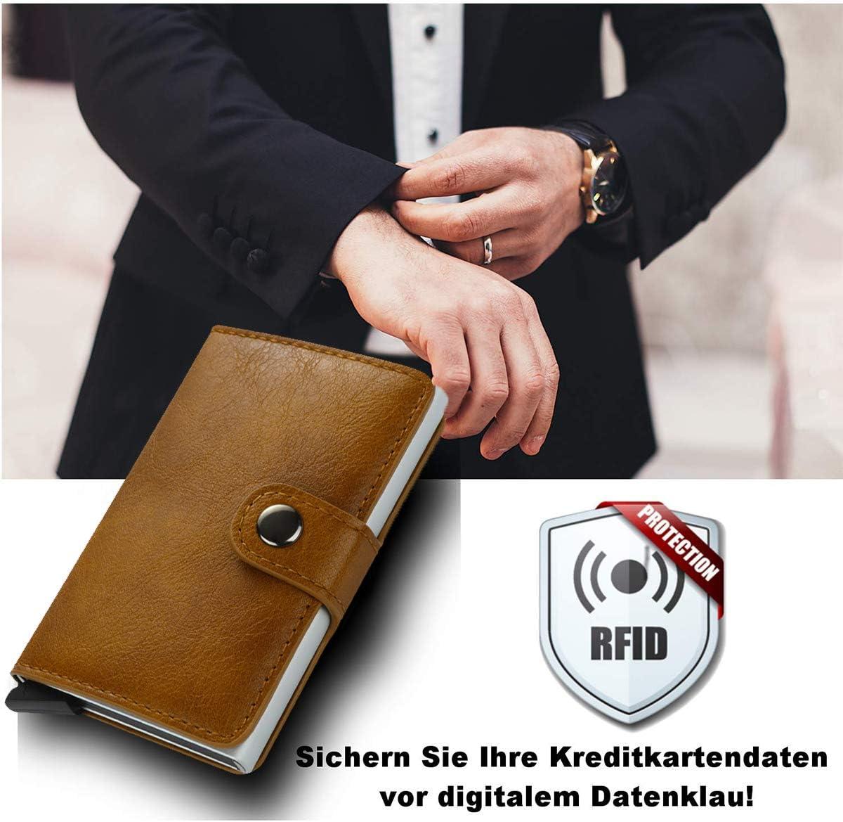 TEECY Porte-Carte Bancaire avec Protection de la RFID en Aluminium Portefeuille /éjecteur Mince et l/éger Wallet Jusqu/à 8-10 Cartes Bleu