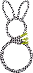 27 Inch Artificial Easter Wreath for Front Door with Carrots Decorations Bunny Wreath with Black and White Buffalo Check for Home and Wall Decorations
