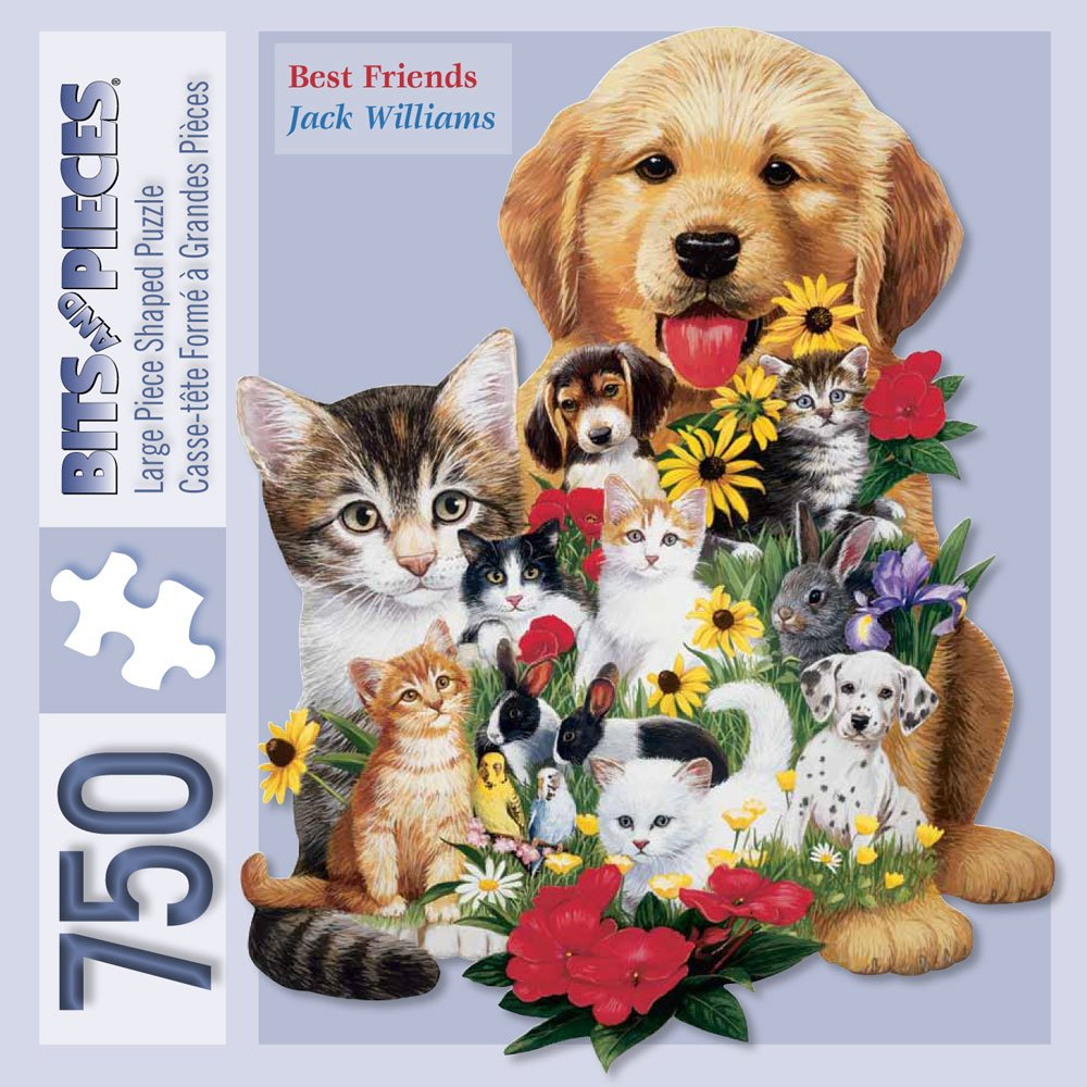 Bits and Pieces - 750 Piece Shaped Jigsaw Puzzle for Adults - Best Friends - 750 pc Dogs and Cats Jigsaw by Artist Jack Williams