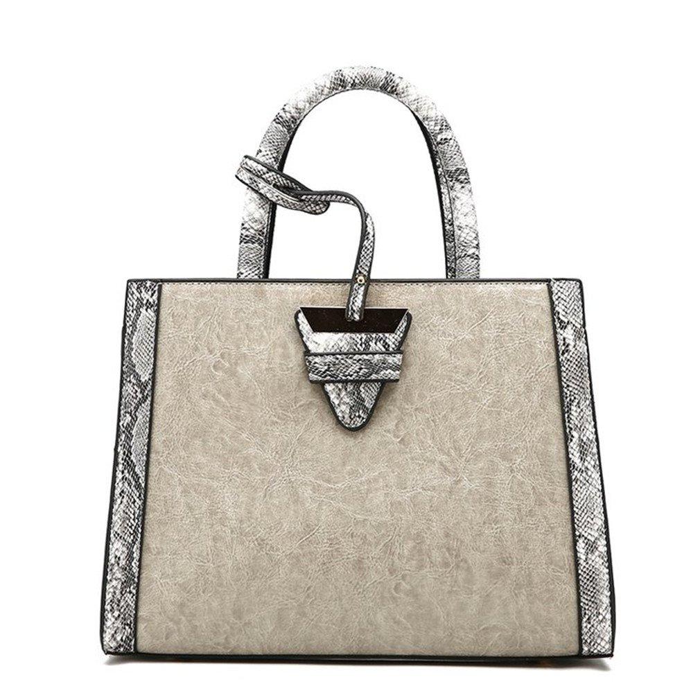 Fashion Snakeskin Serpentine Pattern Women Messenger Bags Large PU Leather Shoulder Crossbody Handbag Gray