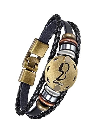 The Jewelbox Stylish Gemini 12 Constellation Zodiac Star Good Luck Braided Copper Black Leather Wrist Band