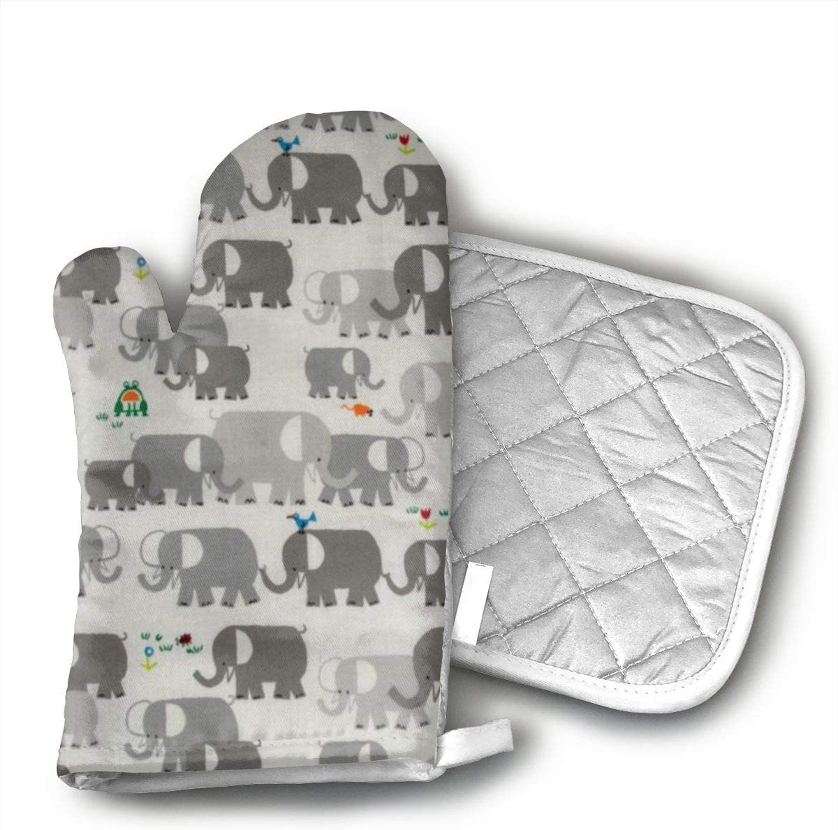 Mnsuh9 Happy Drawing Organic Elephants Oven Mitts Cotton Quilting Lining, Oven Gloves and Pot Holders Kitchen Set for BBQ Cooking Baking, Grilling, Barbecue,